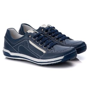 Sapatênis Masculino De Couro Legitimo Comfort Shoes - 3014 Azul