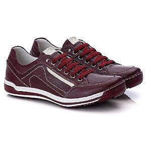 Sapatênis Masculino De Couro Legitimo Comfort Shoes - 3014 Bordo