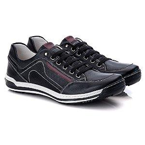 Sapatênis Masculino De Couro Legitimo Comfort Shoes - 3014 Preto