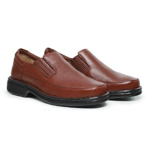 Sapato Masculino Em Couro Legítimo Comfort Shoes - Ref.2009 Floater Havana