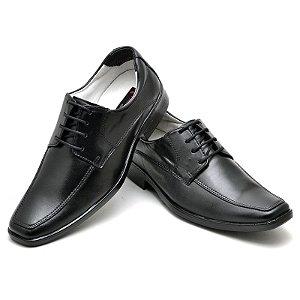 Sapato Social Comfort de Couro Legítimo Preto - Ref.015