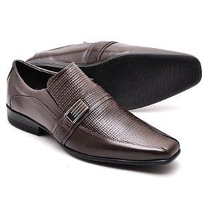Sapato Social Comfort de Couro Legítimo Café - Ref.013