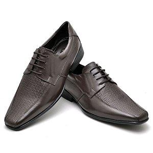 Sapato Social Comfort de Couro Legítimo Café - Ref.014