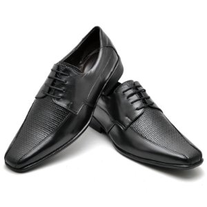 Sapato Social Comfort de Couro Legítimo Preto - Ref.014
