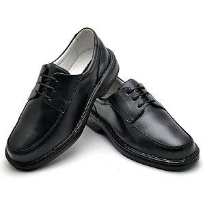 Sapato Comfort de Couro Legítimo Preto - Ref.2002