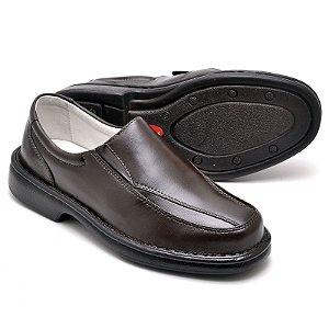 Sapato Comfort de Couro Legítimo Café - Ref.2001