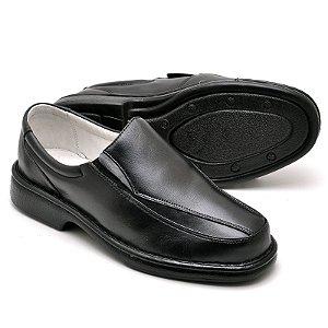 Sapato Masculino de Couro Legítimo Comfort Shoes - Ref.2001Preto