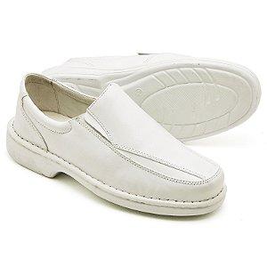 Sapato Comfort de Couro Legítimo Branco - Ref.2001
