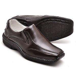 Sapato Comfort de Couro Legítimo Café - Ref.2017