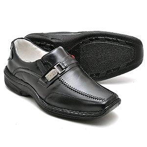 Sapato Comfort de Couro Legitimo Preto Ref 2018