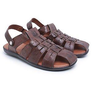 DUPLICADO - Sandália Masculina Comfort Shoes de Couro Legítimo - Café