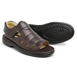 Sandália Masculina Em Couro Floater Café - Ref.303 Comfort Shoes
