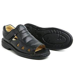 Sandália Masculina Em Couro Floater Preto - Ref.303 Comfort Shoes