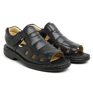 Sandália Masculina Em Couro Floater Preto - Ref.301 Comfort Shoes