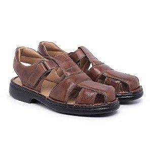 Sandália Masculina Em Couro Mestiço Havana - Ref.8014 Comfort Shoes