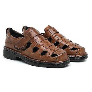 Sandália Masculina Em Couro Mestiço Havana- Ref.4002 Comfort Shoes