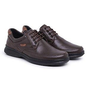 Sapato Masculino Em Couro Legítimo Comfort Shoes - REF. 6033 Café