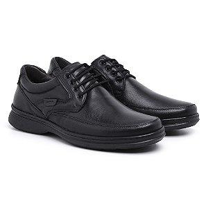 Sapato Masculino de Couro Mestiço Preto Ref.6033 Comfort Shoes