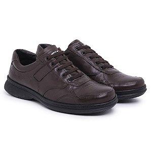 Sapato Masculino de Couro Mestiço Café Ref.6020 Comfort Shoes