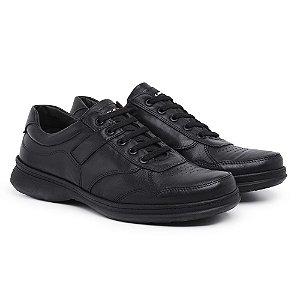 Sapato Masculino de Couro Mestiço Preto Ref.6020 Comfort Shoes