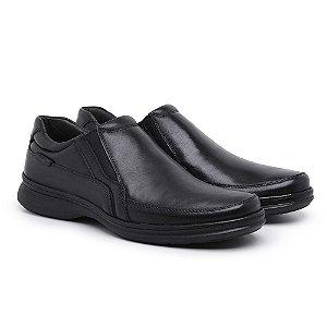 Sapato Masculino de Couro Legítimo Comfort Shoes - Ref. 6015 Preto