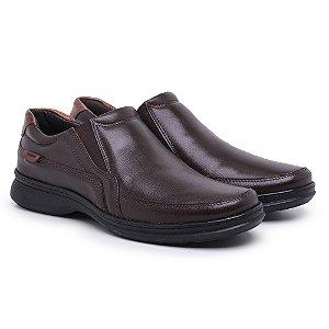 Sapato Masculino de Couro Mestiço Café Ref.6015 Comfort Shoes