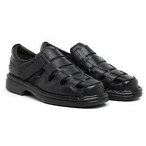 Sandália Masculina Em Couro Mestiço Preta- Ref.4002 Comfort Shoes