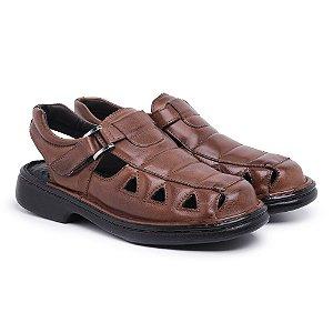 Sandália Masculina Em Couro Mestiço Havana - Ref.8010 Comfort Shoes