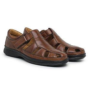 Sandália Masculina Em Couro Mestiço Havana - Ref.8009 Comfort Shoes