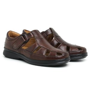 Sandália Masculina Em Couro Legítimo Pinhão - Ref.8009 Comfort Shoes