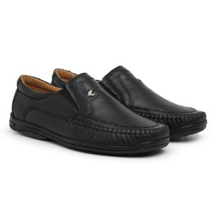 Mocassim Masculino Em Couro Mestiço Preto - Ref.5002 Comfort Shoes