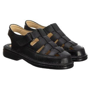 Sandália Masculina Em Couro Floater Preta- Ref.3602 Comfort Shoes