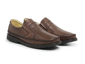 Mocassim Masculino Em Couro Mestiço Café - Ref.102 Comfort Shoes