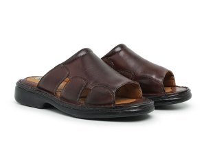 Sandália Masculina Comfort de Couro Mestiço Café - Ref.8013 Comfort Shoes