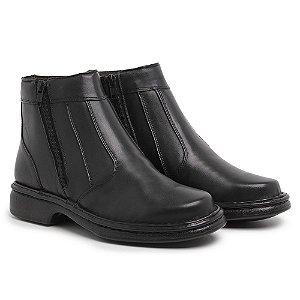 Botina Masculina Comfort de Couro Mestiço Preta - Ref.7002 Comfort Shoes