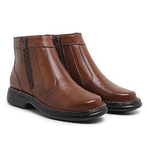 Botina Masculina Comfort de Couro Mestiço Havana- Ref.7002 Comfort Shoes