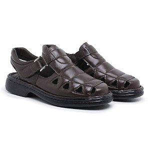 Sandália Masculina Em Couro Legítimo Café - Ref.8010 Comfort Shoes