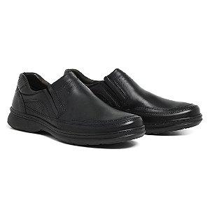 Sapato Masculino de Couro Legítimo Comfort Shoes - Ref. 6021 Preto