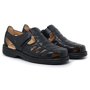Sandália Masculina Em Couro Legítimo Preta Comfort Shoes - 310