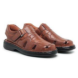 Sandália Masculina De Couro Legítimo Comfort Shoes - Ref. 3601 Havana