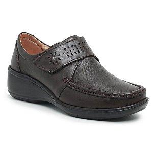Sapato Feminino De Couro Legítimo Linha Comfort - Jasmim Café