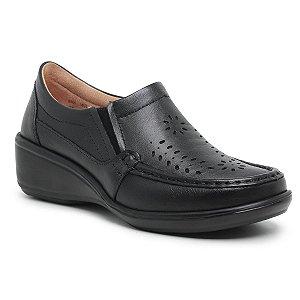 Sapato Feminino De Couro Legítimo Linha Comfort - Jasmim Preto