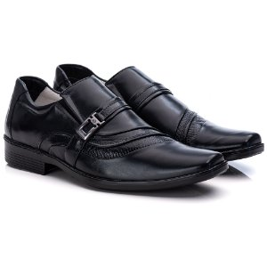 Sapato Social Masculino De Couro Legitimo Comfort - Ref. 06 Preto
