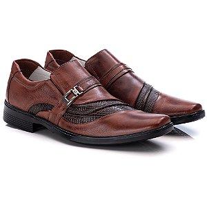 Sapato Social Masculino De Couro Legitimo Comfort - Ref. 06 Pinhão