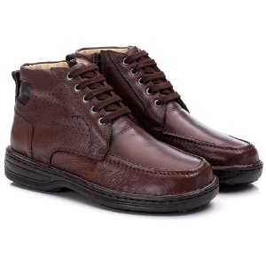 Sapato Masculino De Couro Legitimo Comfort Shoes - Ref. 8003 Café