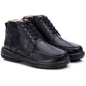 Sapato Masculino De Couro Legitimo Comfort Shoes - Ref. 8003 Preto