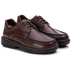 Sapato Masculino De Couro Legitimo Comfort Shoes - Ref. 8002 Café
