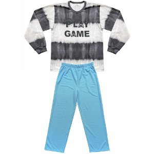 Pijama Juvenil Look Jeans Longo Game Chumbo/Azul