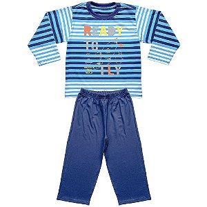 Pijama Infantil Look Jeans Longo Espaço Azul