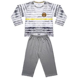 Pijama Infantil Look Jeans Longo Listra Cinza